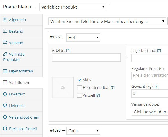 WooCommerce-Variationen
